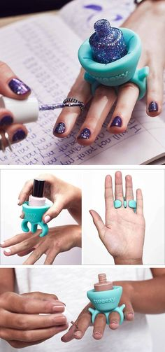 The design of this new wearable nail polish holder makes painting your nails a lot easier! The coolest gadget for your nails.