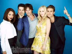 Kat Graham, Michael Malarkey, Ian Somerhalder, Candice Accola, Paul Wesley, 'The Vampire Diaries' #EWComicCon  Image Credit: Michael Muller for EW