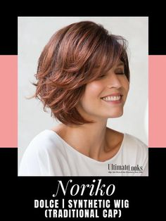 Dolce Wig by Noriko. Softly graduated chin-length bob with voluminous wavy layers and face framing fringe. #wigs #wigsmaker #wifglife Angled Bob Haircuts, Bob Hairstyles For Thick, Long Haircuts, Pretty Hairstyles, Brunette Bob, Bobs For Thin Hair, Wavy Bobs, Thick Hair, Choppy Bobs