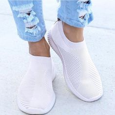 Summer Sneakers For Women Knitted Vulcanized Shoes Sock Sneakers Slip On tenis feminino Mesh Breathable Trainers Zapatos Mujer – Linh's Corner Platform Sneakers, Slip On Sneakers, Casual Sneakers, White Sneakers, Slip On Shoes, Casual Shoes, Flat Shoes, Shoes Sneakers, Women's Casual