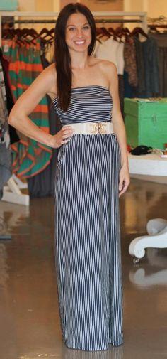 Navy & White Pin Stripe Tube Dress $46