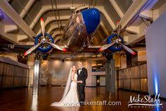 Bride and groom at the Yankee Air Musuem  #Michiganwedding #Chicagowedding #MikeStaffProductions #wedding #reception #weddingphotography #weddingdj #weddingvideography #wedding #photos #wedding #pictures #ideas #planning #DJ #photography #bride #groom