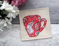 Pink Coaster, Fabric Mug Coaster, Tea Coaster, Gift For Her, Drink Coaster, Home Decor, Thank You Gift, Desk Coaster, Mother's Day Gift by TheCornishCoasterCo on Etsy