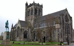 Paisley Abbey.  Marjorie Bruce, daughter of Robert I of Scotland and wife of Walter Steward, the 6th High Steward of Scotland, was out riding near the abbey while heavily pregnant at the time.  She fell from her horse, was taken to this abbey, and gave birth to King Robert II.  She died thereafter and is buried in this abbey.