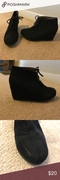 Black wedge booties EUC black wedge booties. Only flaws are one mark on the top of the left shoe and some scratches on the heels. Offers welcome! CityClassified Shoes Wedges