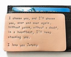 Wallet Insert Card - Personalized Hand Stamped Copper - Long Lasting Gift for Husband Boyfriend Seven Year Anniversary - Birthday - Marriage #boyfriendgifts