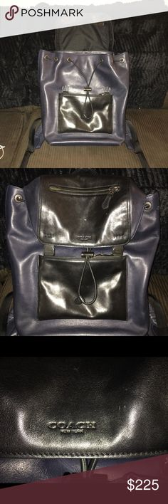NWB COACH BACKPACK Brand new black/blue Coach Backpack with box and protective cover.   Brand new. Never used Coach Bags