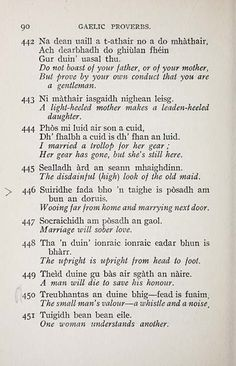 Gaelic proverbs from the National Library of Scotland