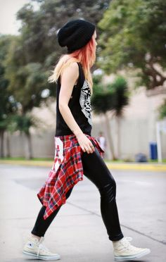 i would wear the flannel instead of tying it around my waste and i would wear cotton leggings instead of those. great outfit