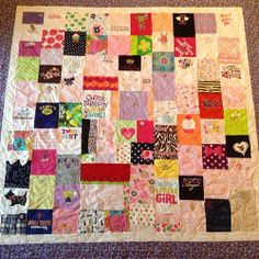 #baby's1stYearquilt custom made by us . We used all her special outfits and onesies from her 1st year and turned it into a baby blanket she can pass on to her children. #babygirlquilt