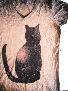 Cat Shirt- Galaxy Shirt - Starry Night - Pink Moon