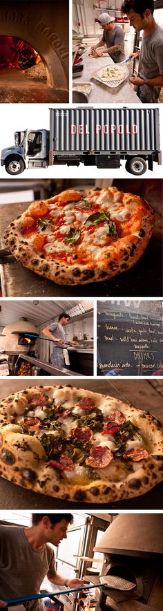 Del Poppolo Pizza Food Truck San Francisco. There is a wood burning pizza oven in the truck! Perfect Pizzas.