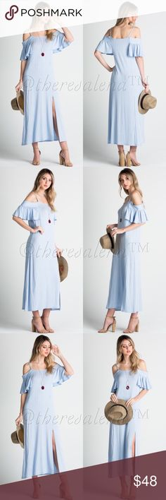 "4/8/17 Host PickCold shoulder Light Blue Dress Flirty cold shoulder light blue ribbed dress with side slits.  Very soft and comfortable casual fit.  Measures from top of shoulder strap to hemline 53"" long. Material is made of 95% Rayon, 5% Spandex. MADE IN USA!!!  S(2-4) M(6-8) L(10.  MADE IN USA  BOUTIQUE QUALITY YOU MAY BUNDLE FOR A DISCOUNT.  PRICE IS FIRM UNLESS BUNDLED TheresaLena Boutique Dresses Maxi"