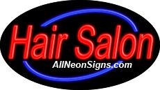 """Hair Salon Flashing Neon Sign-ANSAR14004  Dimensions: 17""""H x 30""""L x 3""""D  Custom colors ship in 5-7 business days  110 volt flasher transformer  Cool, Quiet, and Energy Efficient  Hardware & chain are included  Comes standard with 6' power cord  Indoor use only  1 Year Warranty/electrical components  1 Year Warranty/standard transformers."""