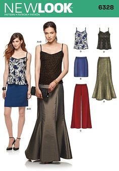 Misses Trousers, Skirt and Camisole New Look Pattern 6328. Size 8-20.