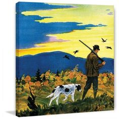 Marmont Hill Duck Hunter and Dog by Paul Bransom Painting Print on Canvas, Size: 48 inch x 48 inch, Multicolor