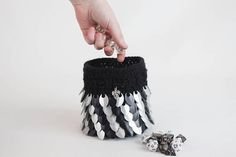 Hey, I found this really awesome Etsy listing at https://www.etsy.com/listing/517761200/lined-dice-bag-black-and-silver-dragon