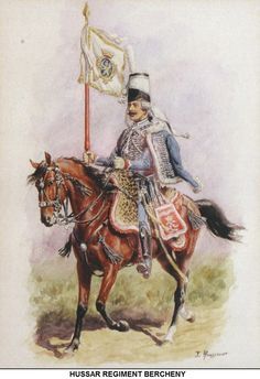 French Hussar Regiment Bercheny, by Lucien Rousselot.