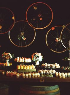 hanging bicycle wheels // photo by Ali Harper // styling by Veo Weddings & Events