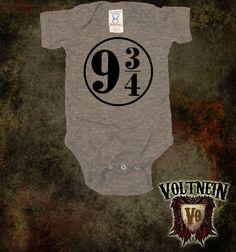 Platform 9 3/4 Quidditch Baby Onesie by VoltNein on Etsy, $11.50