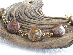 Red Creek Jasper and Gold Segmented Chain Bracelet by joyaslindas3, $27.99