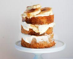 banana cake with swiss cream cheese frosting