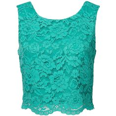 Dixie Lace Top (€27) ❤ liked on Polyvore featuring tops, scalloped lace top, scallop edge top, crop top, lacy tops and v back top