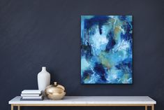 'Breathe', abstract art by Carolyn Sharp. #abstractart #blue #interiordesign Breathe, Abstract Art, Art Gallery, Display, Cold, Interior Design, Painting, Blue, Floor Space