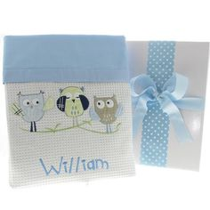This extremely cute owl design baby blanket is personalised with baby's name making it a fantastic personalised baby gift. Available in baby blue for boys or baby pink for girls this gorgeous baby blanket will suit any nursery. Personalized Baby Blankets, Personalized Baby Gifts, Baby Gift Hampers, Keepsake Baby Gifts, Boy Or Girl, Baby Boy, Cot Blankets, Bee Design, Baby Owls