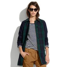 Madewell All-Weather Plaid Coat Size S