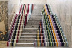 Stairs with a ceramic multi-stripe border