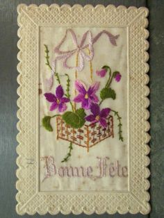 cpa fantaisie brodée broderie panier orné de violettes noeud Hand Embroidery Stitches, Silk Ribbon Embroidery, Embroidered Silk, Hand Stitching, Embroidery Designs, Sweet Violets, Gold Work, Vintage Greeting Cards, Old Postcards