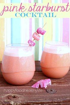 Pink Starburst Cocktail with Pinnacle Vodka .... tastes EXACTLY like everyones favorite Starburst! And this drink has even been lightened up a bit on the calories! // Happy Food Healthy Life