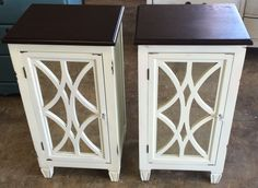 """Here is a couple of extra tall nightstands. They are super popular with the new beds that are so high. Do you need a pair?  The dimensions are 17"""" L, 14"""" W, 32"""" H. SOLD!! for $275 https://www.pinterest.com/shabbychictexas/my-shabby-chic-nightstands/"""