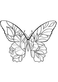 Geometric Tattoo Butterfly, Butterfly Tattoos On Arm, Butterfly Sketch, Flower Tattoos, Tattoo Outline Drawing, Outline Art, Black Ink Tattoos, Small Tattoos, Head Tattoos