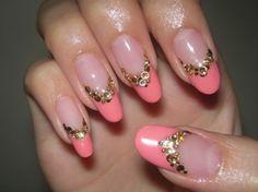 Pink× Gold Pink And Gold, Acrylic Nails, Nail Art, Create, Art Work, Artwork, Work Of Art, Nail Arts, Acrylics