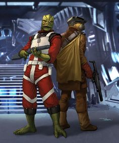 Cradossk and Boushh, members of the Bounty Hunters' Guild Star Wars Characters Pictures, Star Wars Images, Boba Fett, Prince William School, Star Wars Droiden, Marvel Comics, Edge Of The Empire, Star Wars Bounty Hunter, Star Wars Novels