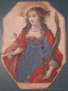 SANTA APOLONIA: GRABADO SOBRE PERGAMINO COLOREADO DEL SIGLO XVII O XVIII.