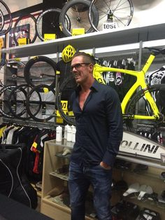 Mario Cipollini at Hrach's Velo Pasadena store debuting the Cipollini line of bike frames Nov. 12, 2014