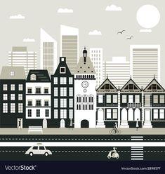 City life vector image on VectorStock White Colors, Black And White Colour, Third Way, Single Image, City Life, Adobe Illustrator, Vector Free, Web Design, Pdf