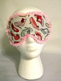 Shoes Stilettos Sleep Mask, spa mask, eye sleep mask, travel mask, beauty sleep, cotton, foldover elastic, fleece, flannel by KrissysCraftyKitsch on Etsy