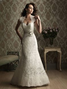 Low V-neck Sleeved Wedding Gown