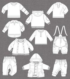 ...dibujos planos de indumentaria infantil