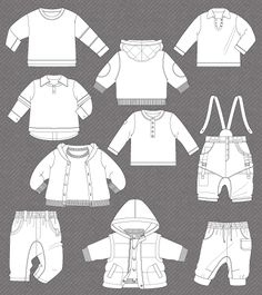 Set of isolated fashion flats for baby boys, tileable and editable with Illustrator 9 and earlier