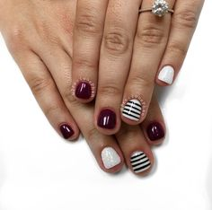White black and maroon nails. Fall nails. #PreciousPhan