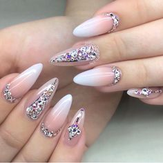 Beautiful almond-shaped baby boomer nails with striping tape and rhinestones by @jonnydieppham Ugly Duckling Nails page is dedicated to promoting quality, inspirational nails created by International Nail Artists