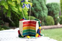 Lego Rainbow Cake    Rainbow cakes are surprisingly easy to make, albeit a little time consuming!  @littlebigh