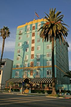 SANTA MONICA:  The Georgian Hotel, 1415 Ocean Avenue, Santa Monica, CA  90401.  Built in 1933, it was designed to be an intimate hideaway, catering to Los Angeles' high society. At the time the hotel opened, it was nestled in a heavily-wooded shoreline of the little-known seaside community of Santa Monica. The dream of Rosamond Borde, a daring and progressive entrepreneur, she commissioned Eugene Durfee to construct the posh resort in an art deco style.