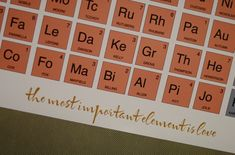Periodic table seating chart.