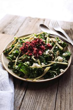 Warm Kale Salad with Roasted Fennel and Cranberry Meyer Lemon Salsa // @tastyyummies // www.tasty-yummies.com